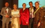 "Gala ""20 Jahre BVGD"" (v. li.): Markus Müller-Tenckhoff (Berlin Guide e. V.), Regina Ebert (Potsdam Guide e. V.), Dr. Ute Jäger (BVGD), C. Ortega (FEG), F. Wressnig (WFTGA)"