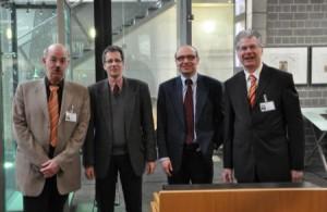 Ingo Dämgen (VGR), Dr. Wolther von Kieseritzky (BVGD), Axel Biermann (Ruhr Tourismus), Michael Weier VGR) im LRV-Industriemuseum Oberhausen, der ehem. Zinkfabrik Altenberg