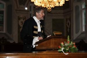 Der 1. Vorsitzende des Lübecker Stadtführer e. V., Jan Kruijswijk bei der Auftaktveranstaltung zum WGFT 2015 in der Hansestadt Lübeck