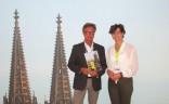 """BVGD-Vorstandsmitglied Sonja Wagenbrenner mit dem Chefredakteur von """"Busfahrt"""", Lutz Gerritzen auf dem RDA-Workshop 2015 in Köln"""