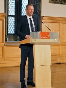 Nürnbergs Oberbürgermeister Dr. Ulrich Maly bei der Begrüßung der Tagungsteilnehmer im Rathaus
