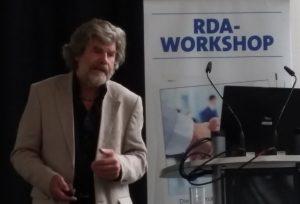 Extrem-Bergsteiger, Buchautor und Museumsmacher Reinhold Messner auf dem RDA-Workshop in Köln 2016