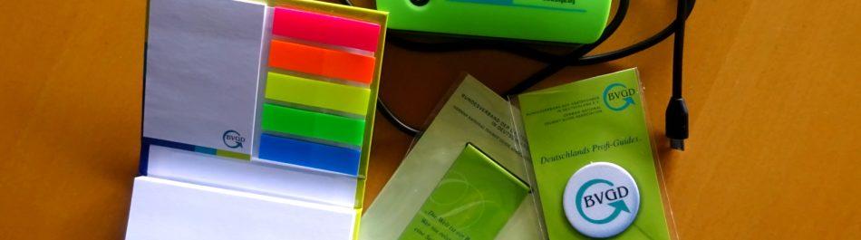 BVGD Fanpaket - bestehend aus Haftnotizen-Büchlein, PowerBank, Magnet-Lesezeichen und Smartphone-Cleaner